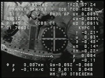 Il modulo Zvezda visto dalla navicella Progress MS-2 (Immagine NASA TV)