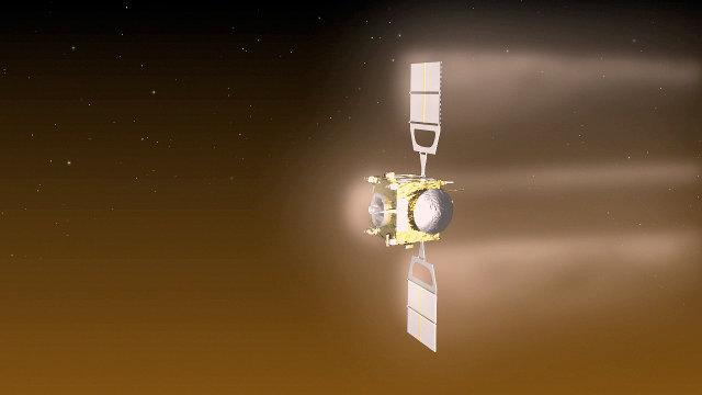 Concetto artistico della sonda spaziale Venus Express durante una manovra di aerobraking (Immagine ESA–C. Carreau)