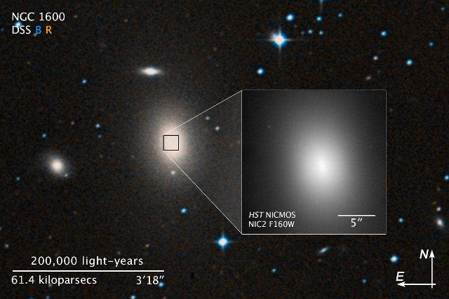 La galassia NGC 1600 e nel riquadro un ingrandimento ottenuto da Hubble (Immagine NASA, ESA, and Z. Levay (STScI))