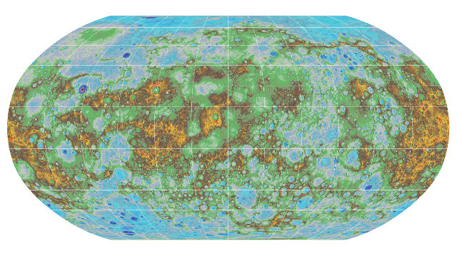 Mappa topografica del pianeta Mercurio (Immagine USGS)