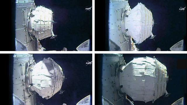 Le varie fasi di espansione del modulo BEAM (Immagine NASA TV)
