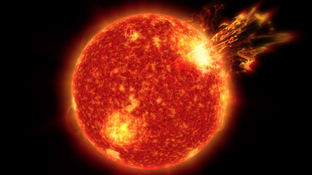 Rappresentazione di un super-brillamento solare (Immagine NASA's Goddard Space Flight Center, Greenbelt, Md.)