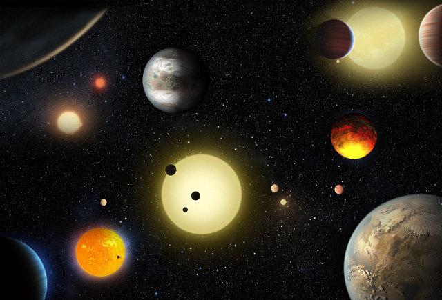 concetto artistico di vari pianeti scoperti dal telescopio spaziale Kepler (Immagine NASA/W. Stenzel)