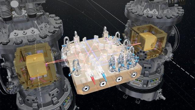 Illustrazione dell'apparecchiatura contenuta nella sonda LISA Pathfinder (Immagine ESA/ATG medialab)