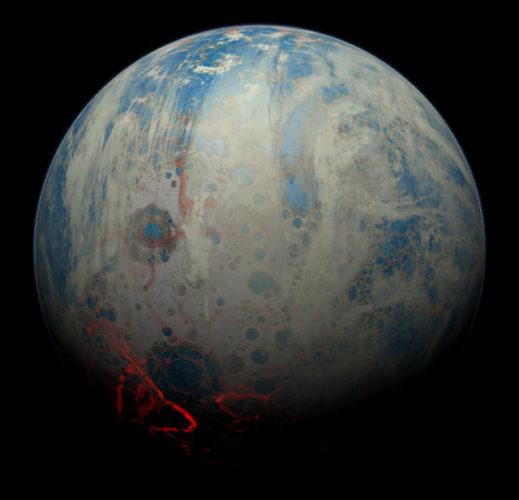 Concetto artistico della Terra primordiale (Immagine cortesia Simone Marchi (SwRI). Tutti i diritti riservati)