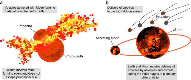 Possibile scenario dell'impatto che creò la Luna (a) e del successivo arrivo dell'acqua (b) (Immagine Jessica J. Barnes et al.)
