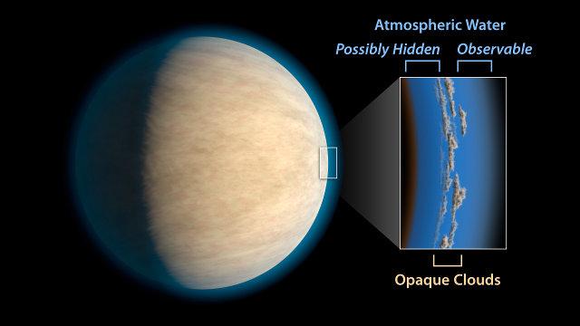 Illustrazione di un pianeta gioviano caldo con le nuvole nella sua atmosfera (Immagine NASA/JPL-Caltech)