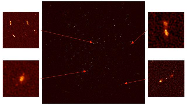 Immagine delle galassie viste da MeerKAT con alcune nei dettagli nei riquadri (Immagine cortesia SKA Africa. Tutti i diritti riservati)