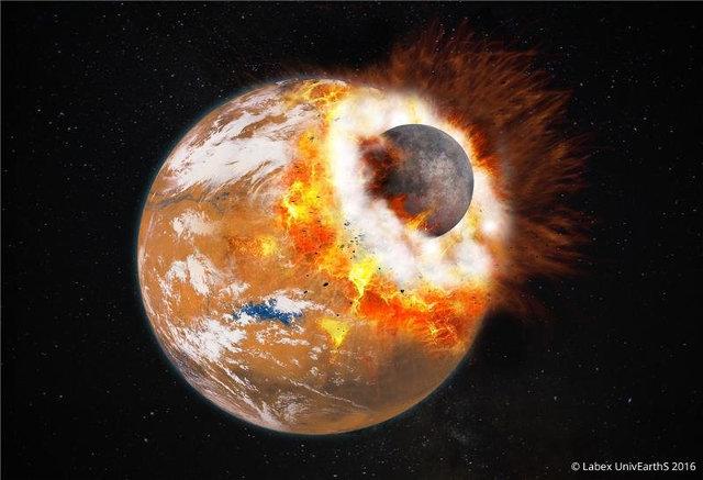 Rappresentazione artistica del possibile impatto di un planetoide con Marte (Immagine cortesia Université Paris Diderot / Labex UnivEarthS)