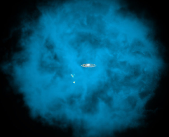 Rappresentazione artistica dell'alone di gas che circonda la Via Lattea e le Nubi di Magellano (Immagine NASA/CXC/M.Weiss/Ohio State/A Gupta et al)