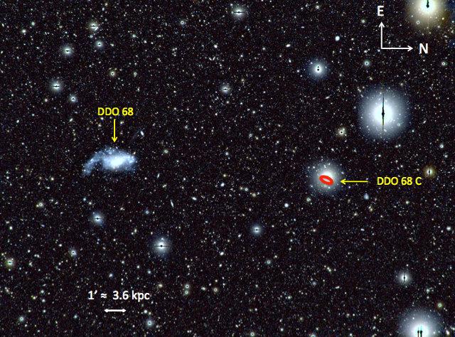 L'area attorno alla galassia nana DDO 68 con un possibile satellite viste da LBT (Immagine cortesia Francesca Annibali/INAF)