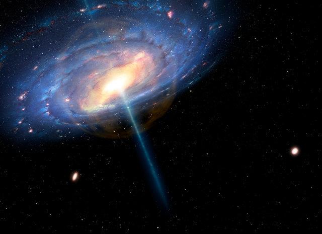 Concetto artistico della Via Lattea durante la sua attività come quasar (Immagine cortesia Mark A. Garlick/CfA)