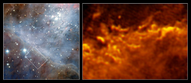 La nube molecolare dietro la nebulosa di Orione vista da HAWK-I (a sinistra) e da ALMA (a destra) (Immagine ESO/Goicoechea et al.)