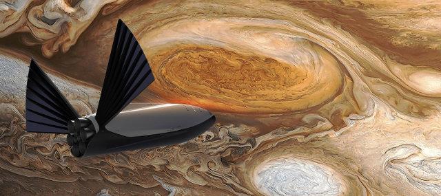 Concetto artistico di una navicella spaziale vicina a Giove (Immagine cortesia SpaceX)