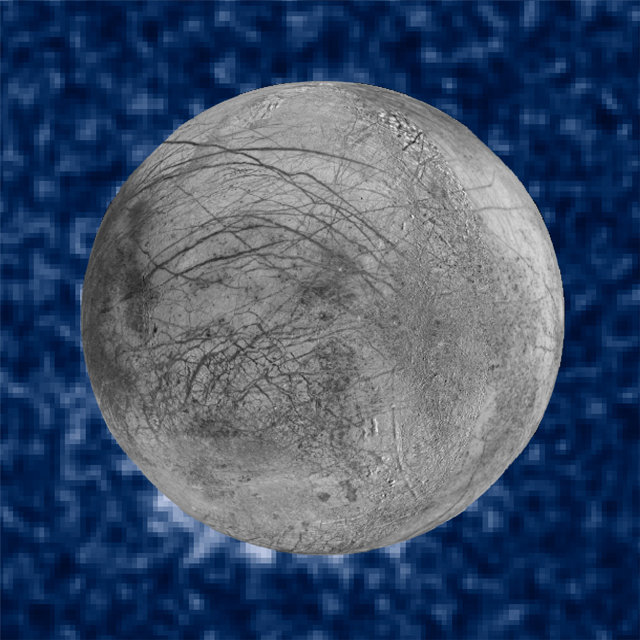 Europa con i possibili pennacchi di vapore acqueo al polo sud (Immagine NASA/ESA/W. Sparks (STScI)/USGS Astrogeology Science Center)