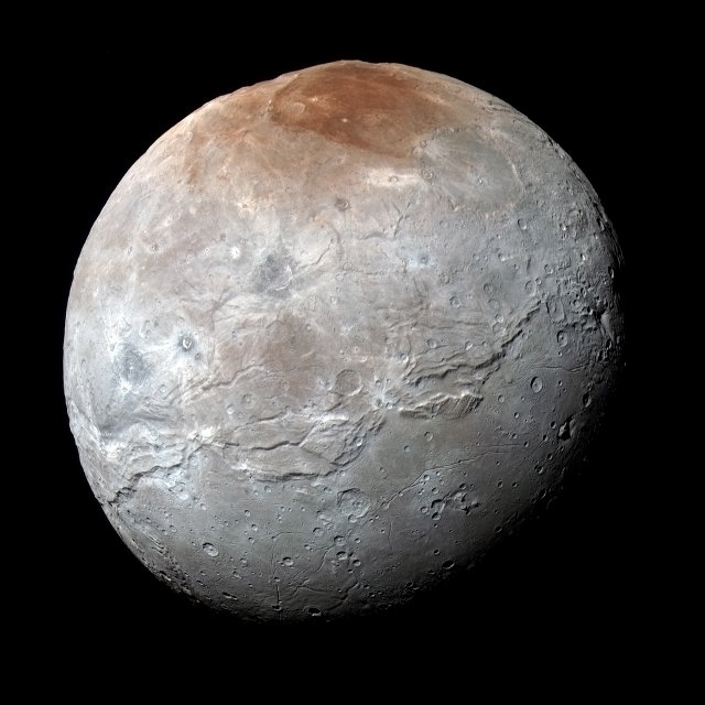 Caronte visto dalla sonda spaziale New Horizons (Foto NASA/JHUAPL/SwRI)