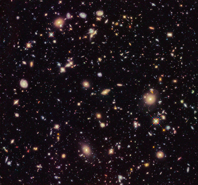 Il campo ultra-profondo del telescopio spaziale Hubble del 2012 (Immagine NASA, ESA, R. Ellis (Caltech), and the HUDF 2012 Team)
