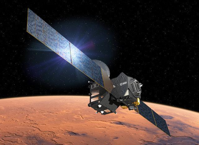 Rappresentazione artistica del Trace Gas Orbiter (TGO) (Immagine ESA–D. Ducros)
