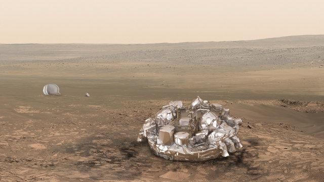 Rappresentazione artistica del lander Schiaparelli su Marte (Immagine ESA/ATG medialab)