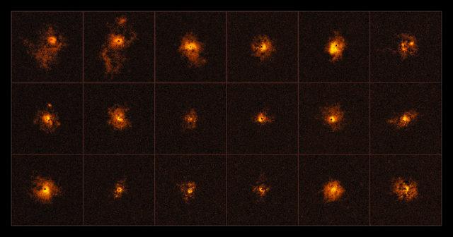 18 dei quasar studiati (Immagine ESO/Borisova et al.)