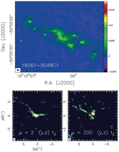 La nube molecolare IRAS 16061-5048C1 e in basso immagini da simulazioni al computer (Immagine cortesia Francesco Fontani/INAF)