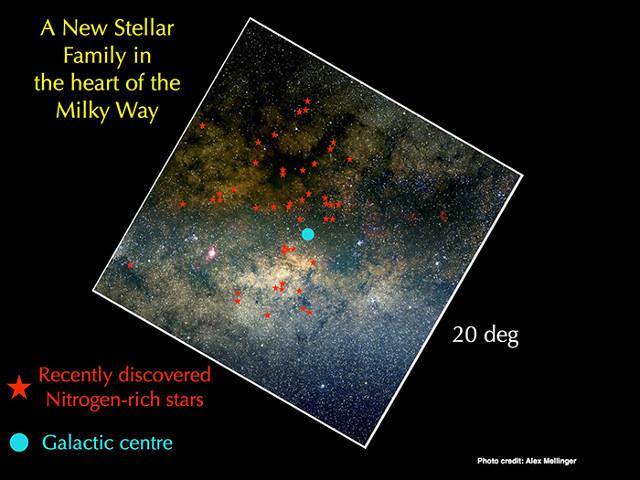 Area attorno al nucleo galattico (Immagine cortesia Alex Mellinger)