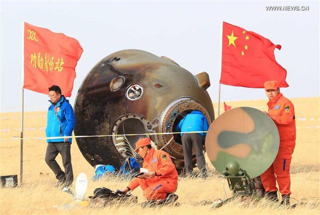 La capsula di atterraggio della navicella Shenzhou 11 (Foto cortesia Xinhua/Li Gang)
