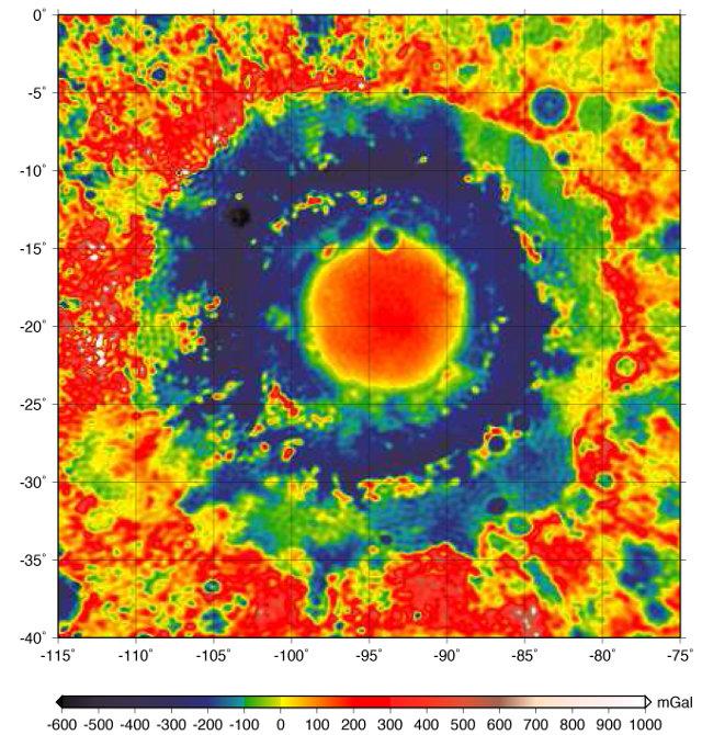 Mappa gravitazionale del Mare Orientale (Immagine NASA/JPL-Caltech)