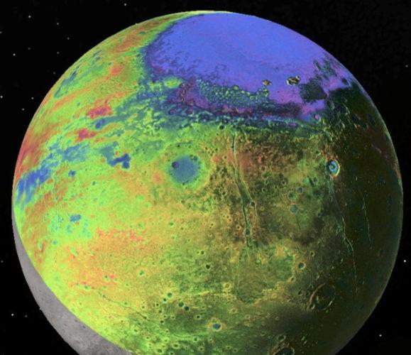 Vista topografica di Plutone (Immagine P.M. Schenk LPI/JHUAPL/SwRI/NASA)