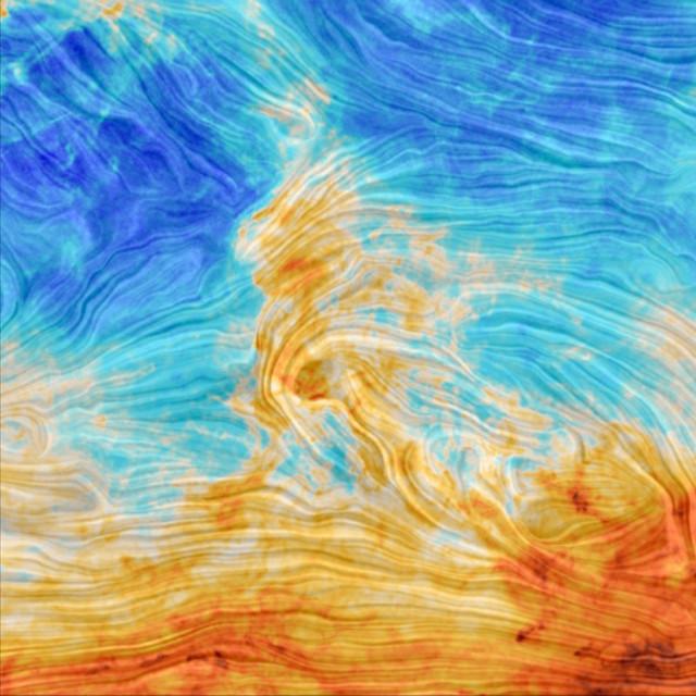 Il campo magnetico nell'area chiamata Polaris Flare (Immagine ESA and the Planck Collaboration)