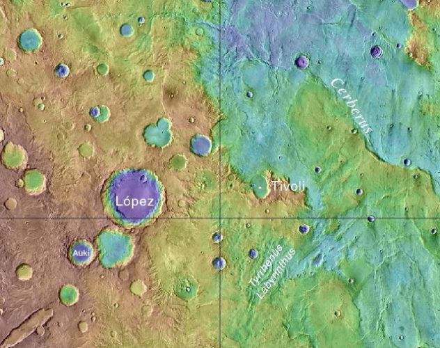 Mappa topografica della regione in cui si trova il cratere Auki (Immagine NASA/USGS)