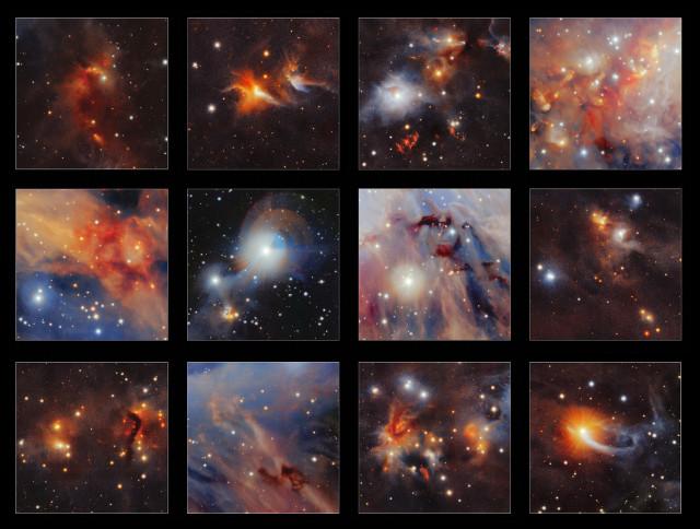 Alcune zone della nube molecolare Orione A (Immagine ESO/VISION survey)