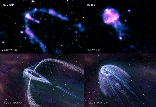 Le pulsar Geminga e PSR B0355+54 con le illustrazioni dei loro plerioni (Immagine X-ray: NASA/CXC/PSU/B.Posselt et al; Infrared: NASA/JPL-Caltech; Illustration: Nahks TrEhnl)