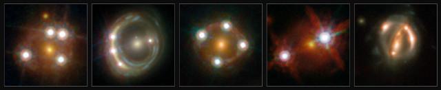 I 5 quasar visti attraverso lenti gravitazionali (Immagine ESA/Hubble, NASA, Suyu et al.)