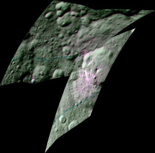 L'area del del cratere Ernutet. In rosa i composti organici (Immagine NASA/JPL-Caltech/UCLA/ASI/INAF)