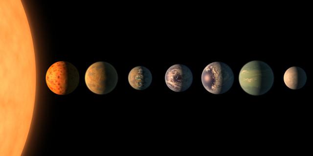 Concetto artistico dei pianeti del sistema TRAPPIST-1 (Immagine NASA/JPL-Caltech)