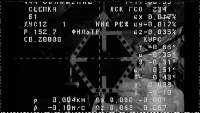 L'attracco alla Stazione Spaziale Internazionale visto dal cargo spaziale Progress MS-5 (Immagine NASA TV)