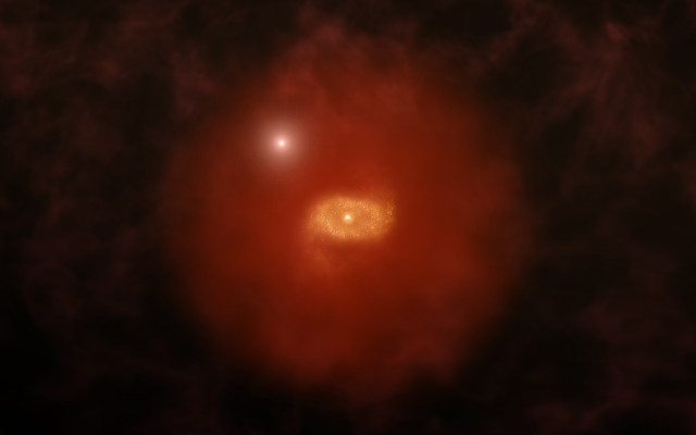Concetto artistico di galassia primordiale simile alla Via Lattea (Immagine A. Angelich (NRAO/AUI/NSF))