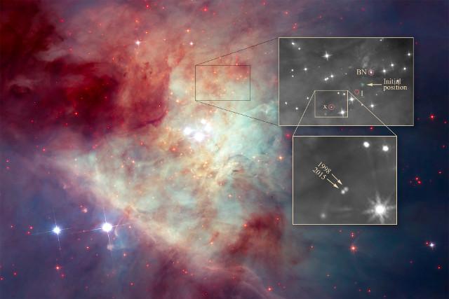 Le stelle fuggitive e le loro varie posizioni (Immagine NASA, ESA, K. Luhman (Penn State University), and M. Robberto (STScI))