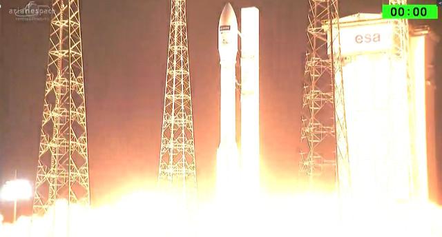Il satellite Sentinel-2B al decollo su un razzo Vega (Immagine ESA/Arianespace)