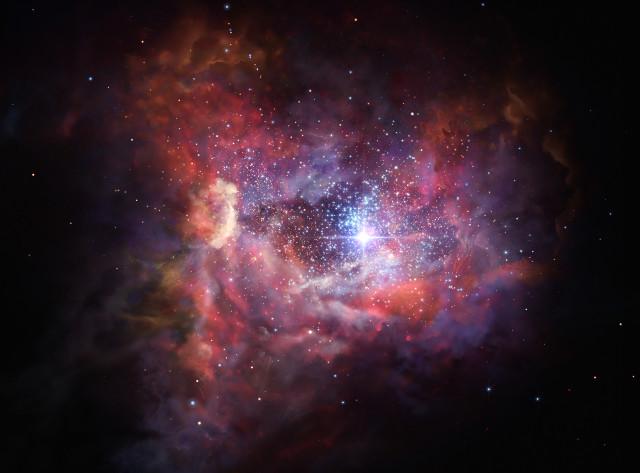Concetto artistico della galassia A2744_YD4 (Immagine ESO/M. Kornmesser)