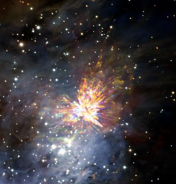 L'esplosione nella Nube Molecolare di Orione 1 (Immagine ALMA (ESO/NAOJ/NRAO), J. Bally/H. Drass et al.)