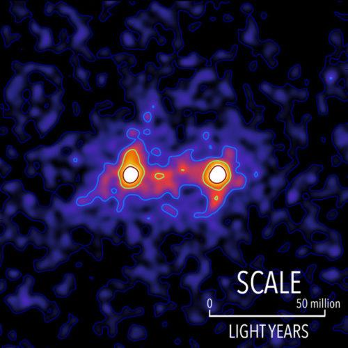 Esempio di coppia di galassie unite da filamenti di materia oscura (Immagine cortesia S. Epps & M. Hudson / University of Waterloo)