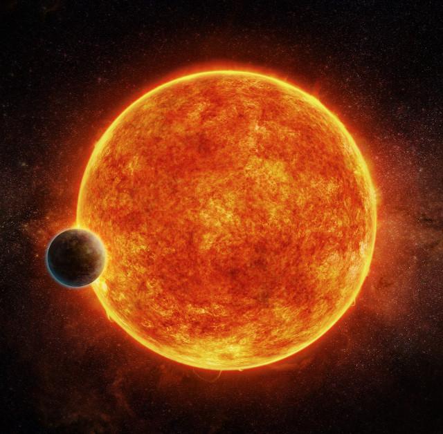 Concetto artistico del pianeta LHS 1140b che sta per passare davanti alla sua stella (Immagine M. Weiss/CfA)