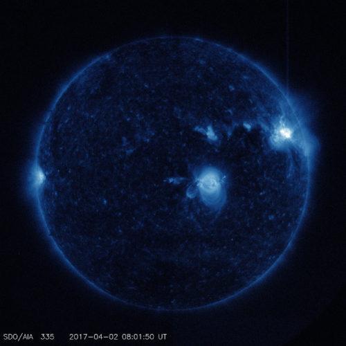Foto del Sole poco prima del picco del primo brillamento (Foto NASA/SDO)