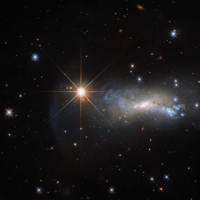 La galassia NGC 7250 e la stella TYC 3203-450-1 (Immagine ESA/Hubble & NASA)