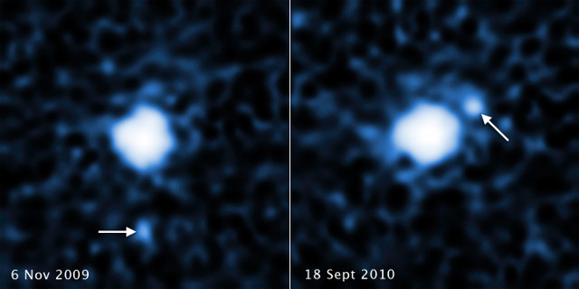 2007 OR10 e la sua luna (Immagine NASA, ESA, C. Kiss (Konkoly Observatory), and J. Stansberry (STScI))