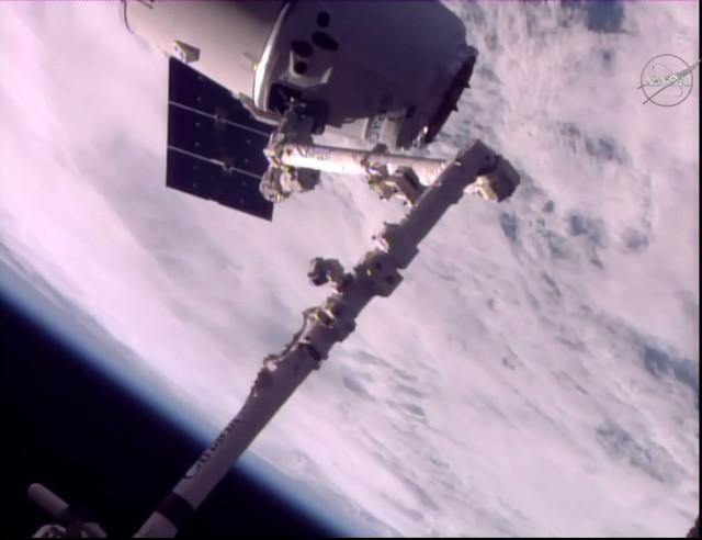 Il cargo spaziale Dragon catturato dal braccio robotico Canadarm2 (Immagine NASA TV)