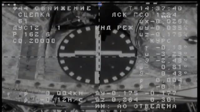 L'attracco della Progress MS-6 vista dal cargo spaziale (Immagine NASA TV)