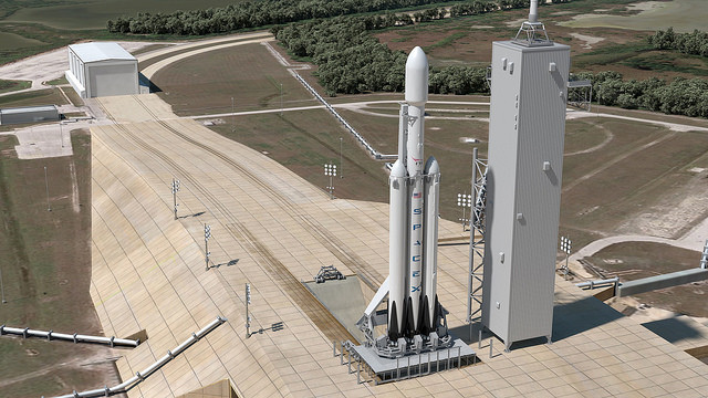 Rendering del Falcon Heavy sul Pad 39A al Kennedy Space Center (Immagine SpaceX)